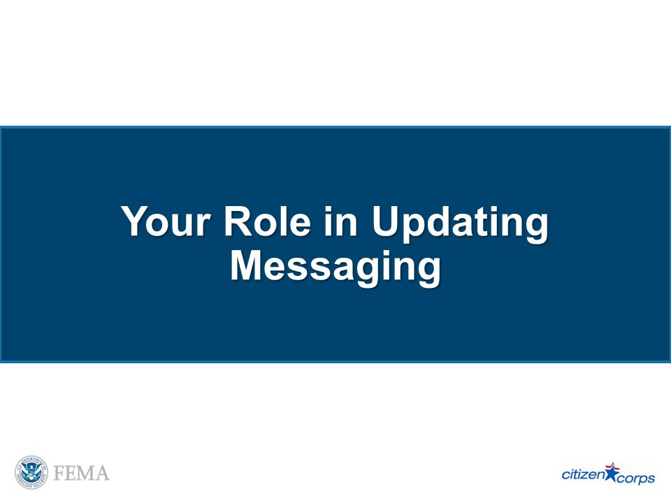 Your Role in Updating Messaging
