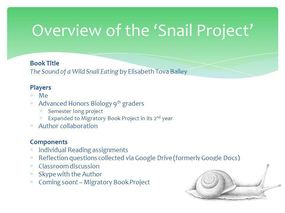 Origin of the Project (or Why Did I Pick a Book About a Snail!?) Be careful what you listen to on NPR.