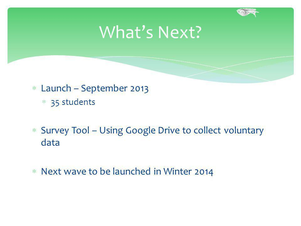Launch – September 2013 35 students Survey Tool – Using Google Drive to collect voluntary data Next wave to be launched in Winter 2014 Whats Next