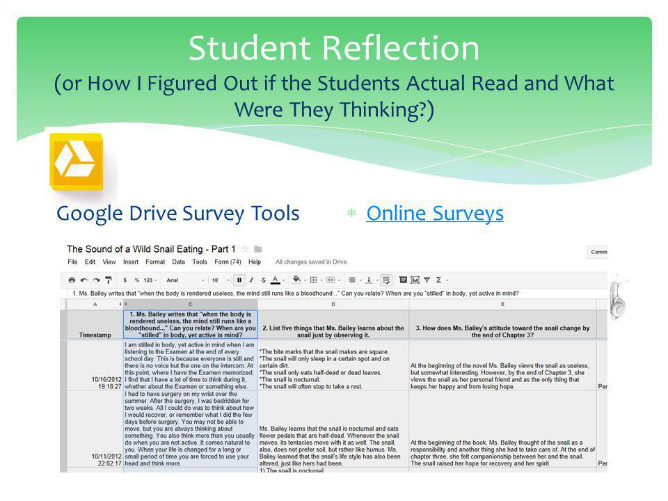 Student Reflection (or How I Figured Out if the Students Actual Read and What Were They Thinking ) Google Drive Survey Tools Online Surveys