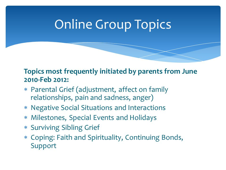 Topics most frequently initiated by parents from June 2010-Feb 2012: Parental Grief (adjustment, affect on family relationships, pain and sadness, ang