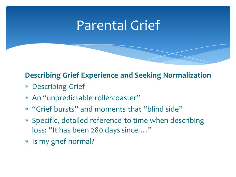 Describing Grief Experience and Seeking Normalization Describing Grief An unpredictable rollercoaster Grief bursts and moments that blind side Specifi