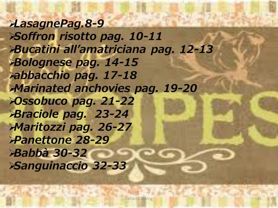 Italian Cooking35 LasagnePag.8-9 Soffron risotto pag.