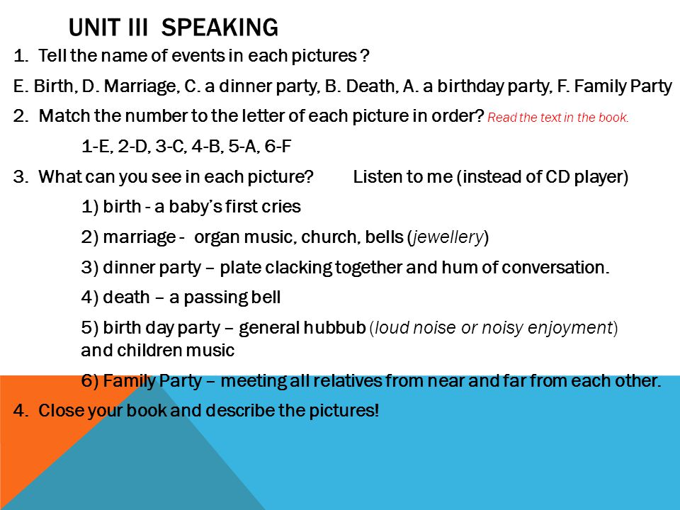 UNIT III SPEAKING 1.Tell the name of events in each pictures .