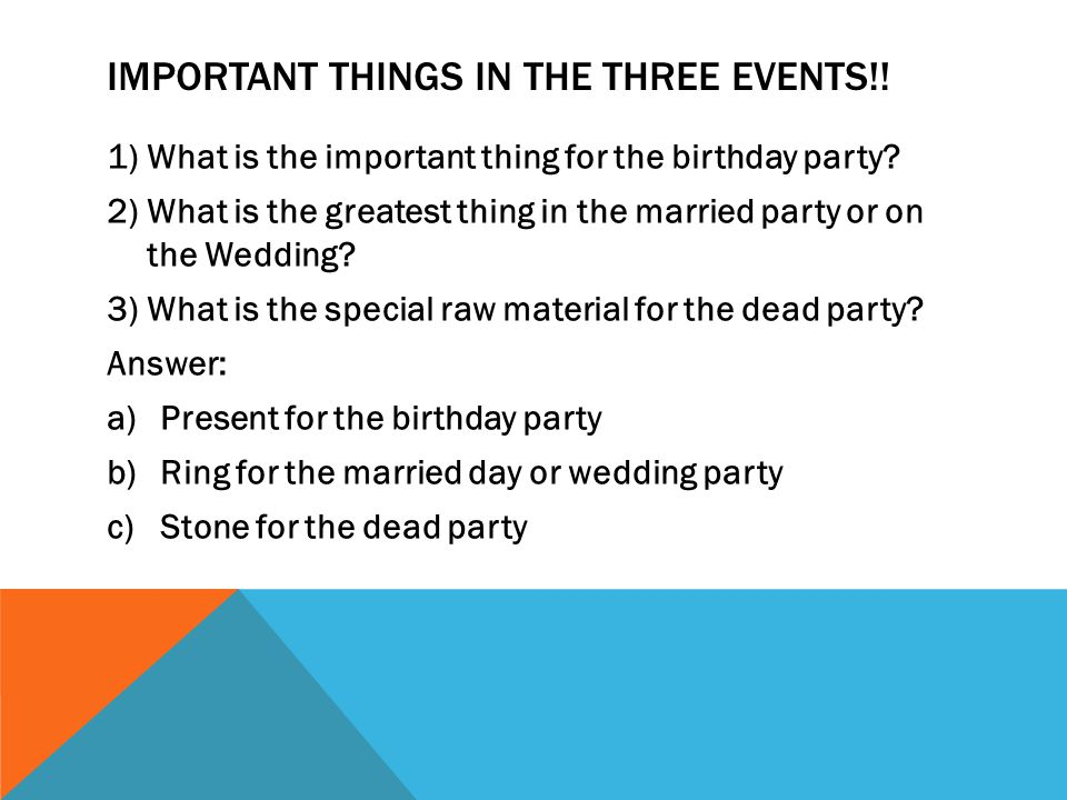 IMPORTANT THINGS IN THE THREE EVENTS!. 1)What is the important thing for the birthday party.