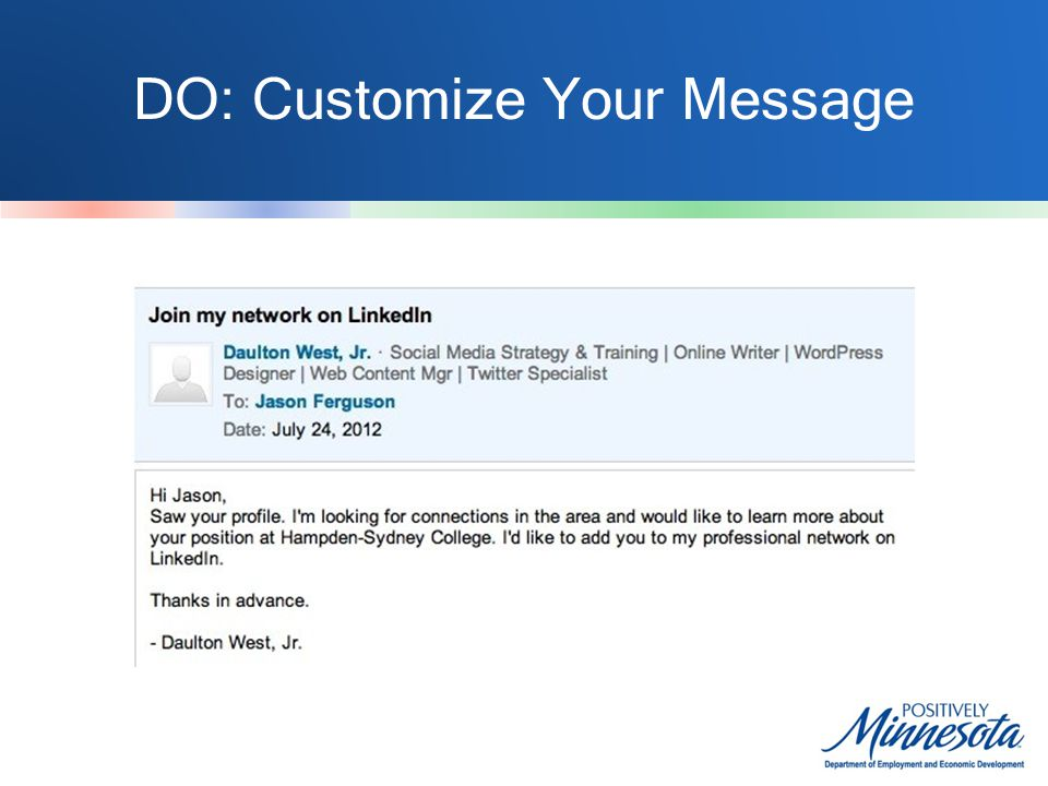 DO: Customize Your Message