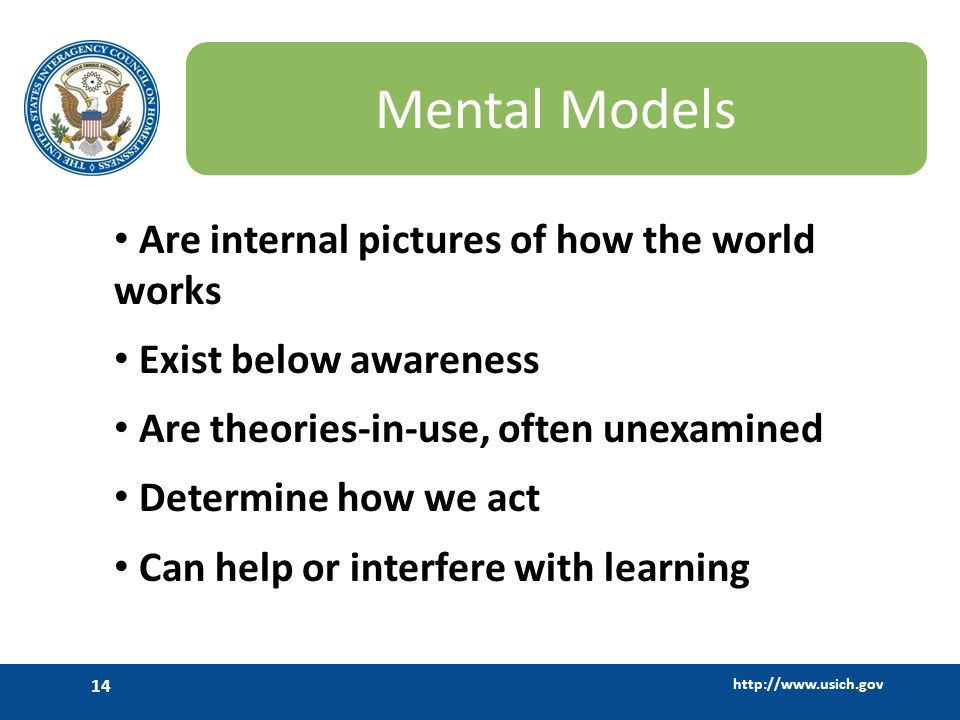 http://www.usich.gov 14 Mental Models Are internal pictures of how the world works Exist below awareness Are theories-in-use, often unexamined Determi