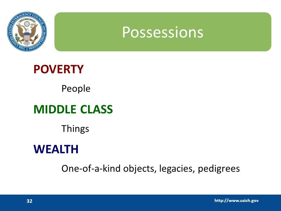 http://www.usich.gov 32 Possessions POVERTY People MIDDLE CLASS Things WEALTH One-of-a-kind objects, legacies, pedigrees