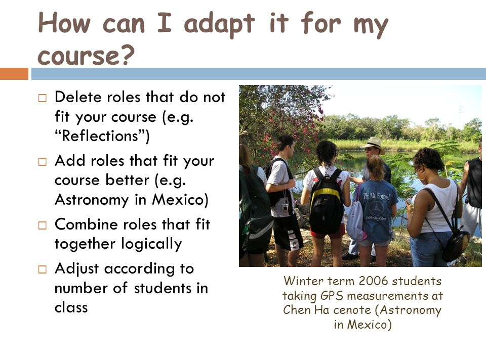 How can I adapt it for my course. Delete roles that do not fit your course (e.g.