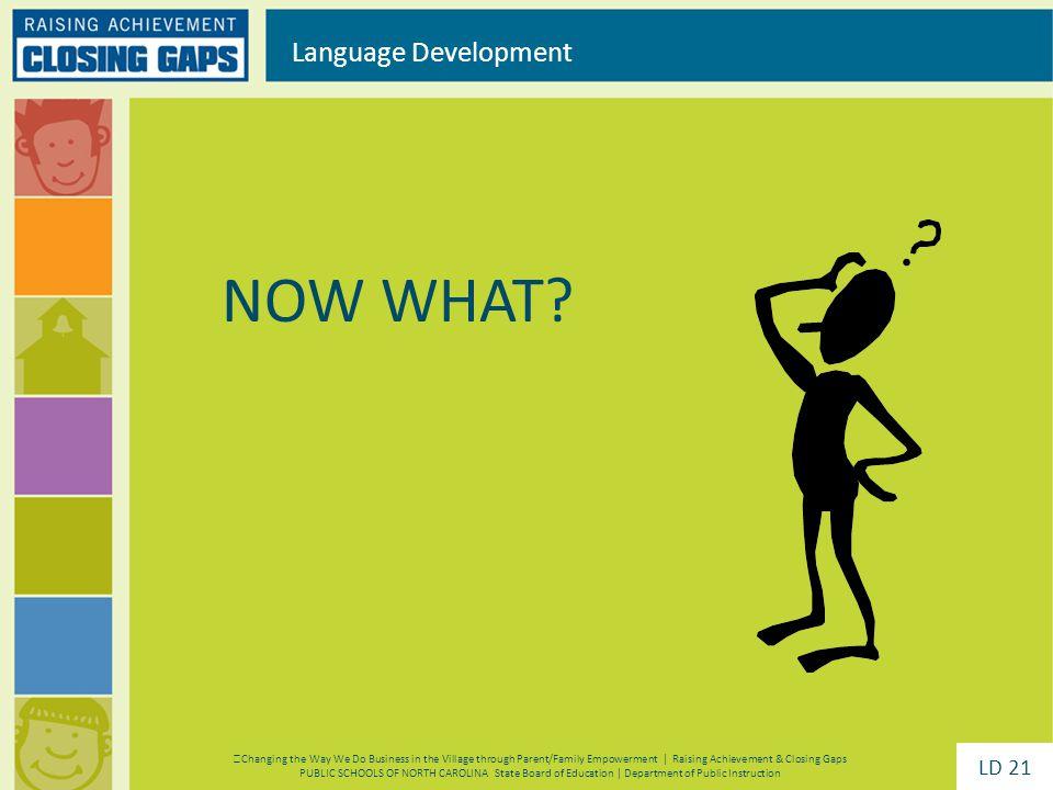 NOW WHAT? Language Development Changing the Way We Do Business in the Village through Parent/Family Empowerment | Raising Achievement & Closing Gaps P