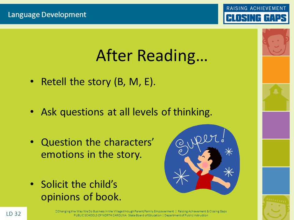 After Reading… Retell the story (B, M, E). Ask questions at all levels of thinking. Question the characters emotions in the story. Solicit the childs