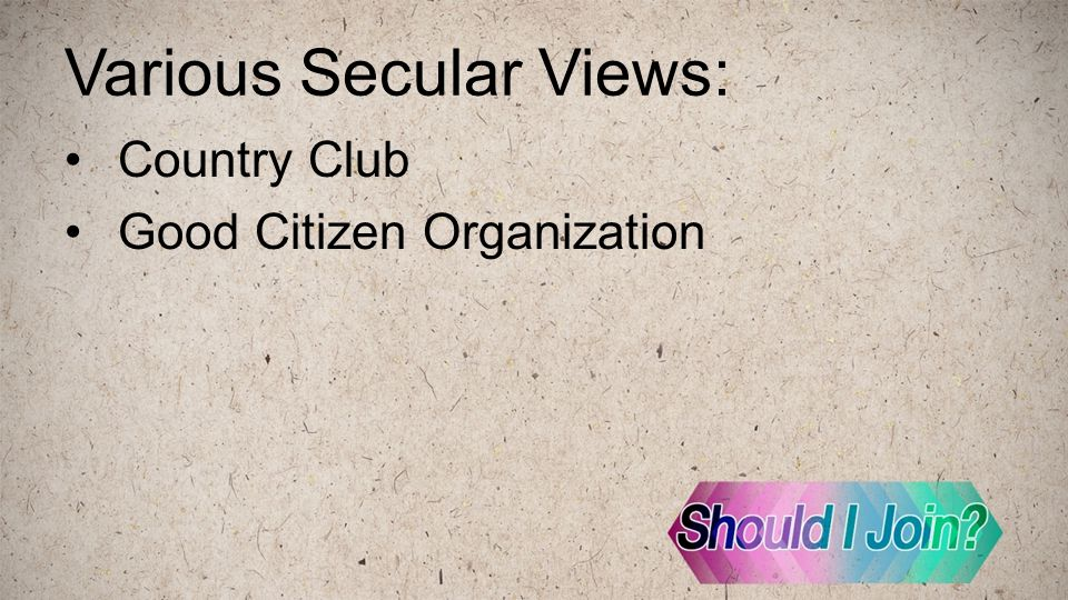 Various Secular Views: Country Club Good Citizen Organization
