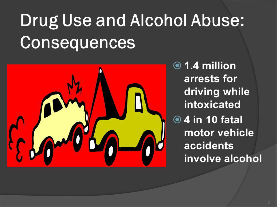 3 Drug Use and Alcohol Abuse: Consequences 1.4 million arrests for driving while intoxicated 4 in 10 fatal motor vehicle accidents involve alcohol