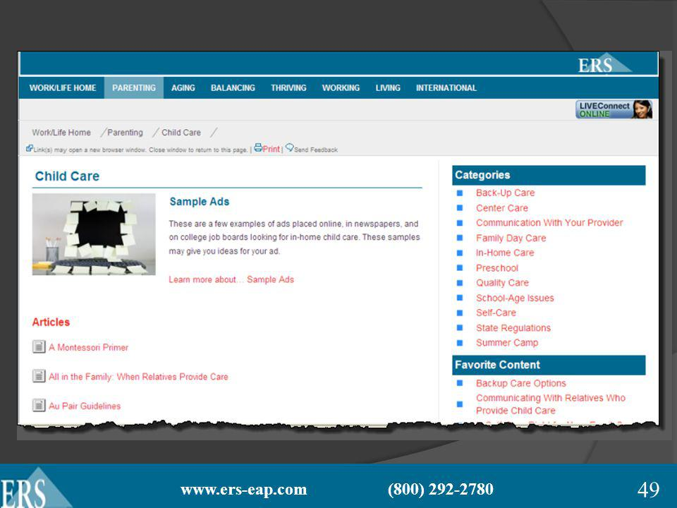 www.ers-eap.com (800) 292-2780 49