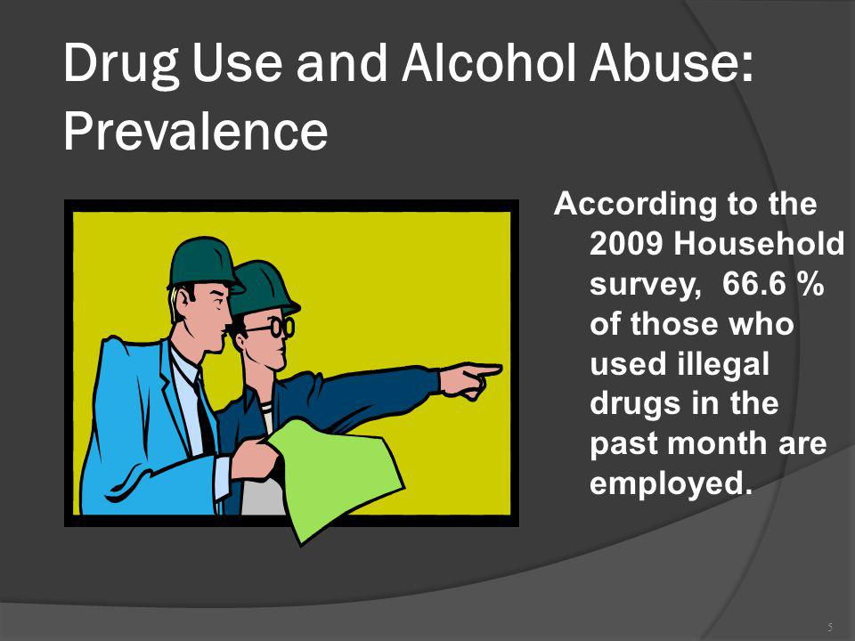 www.ers-eap.com (800) 292-2780 6 Illicit Drug Use by Industry By occupation, the highest rates of current drug use and heavy drinking were reported by those employed as Food preparation workers, waiters, waitresses and bartenders (19%) Construction workers (14%) Service occupations (13%) Transportation/material moving workers (10%).