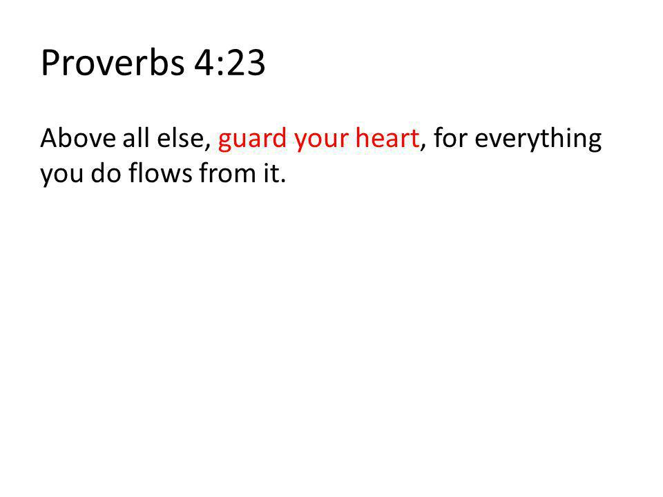 Proverbs 4:23 Above all else, guard your heart, for everything you do flows from it.