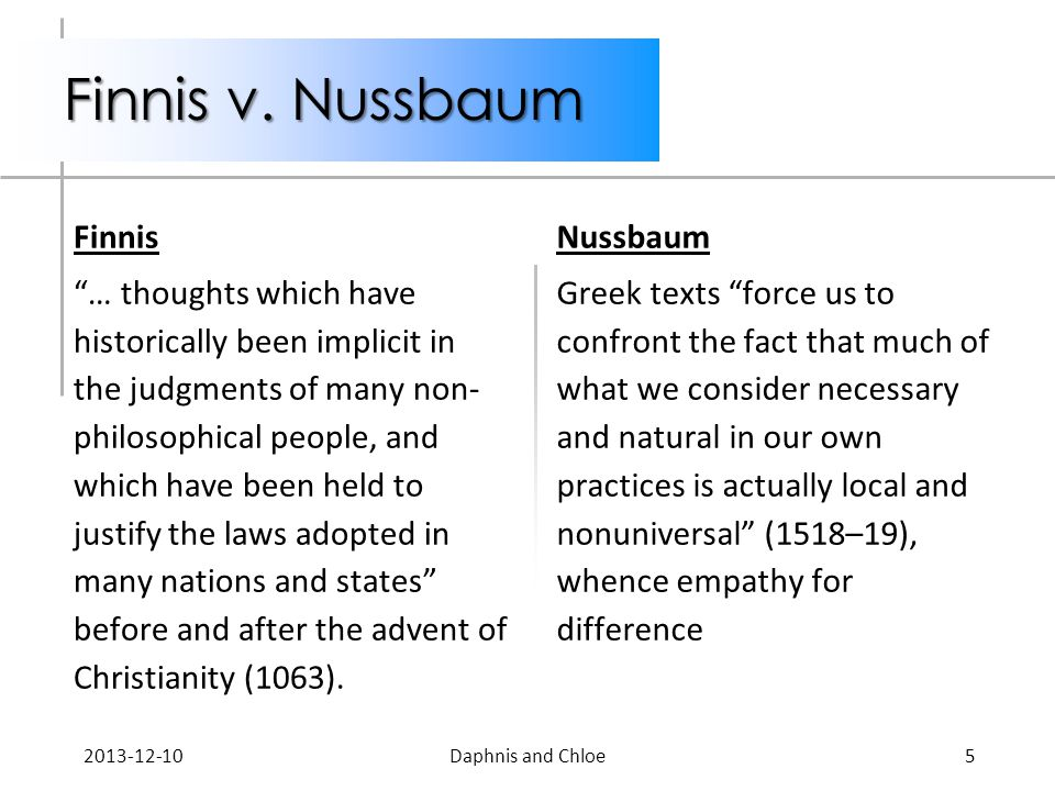 Finnis v. Nussbaum Finnis … thoughts which have historically been implicit in the judgments of many non- philosophical people, and which have been hel