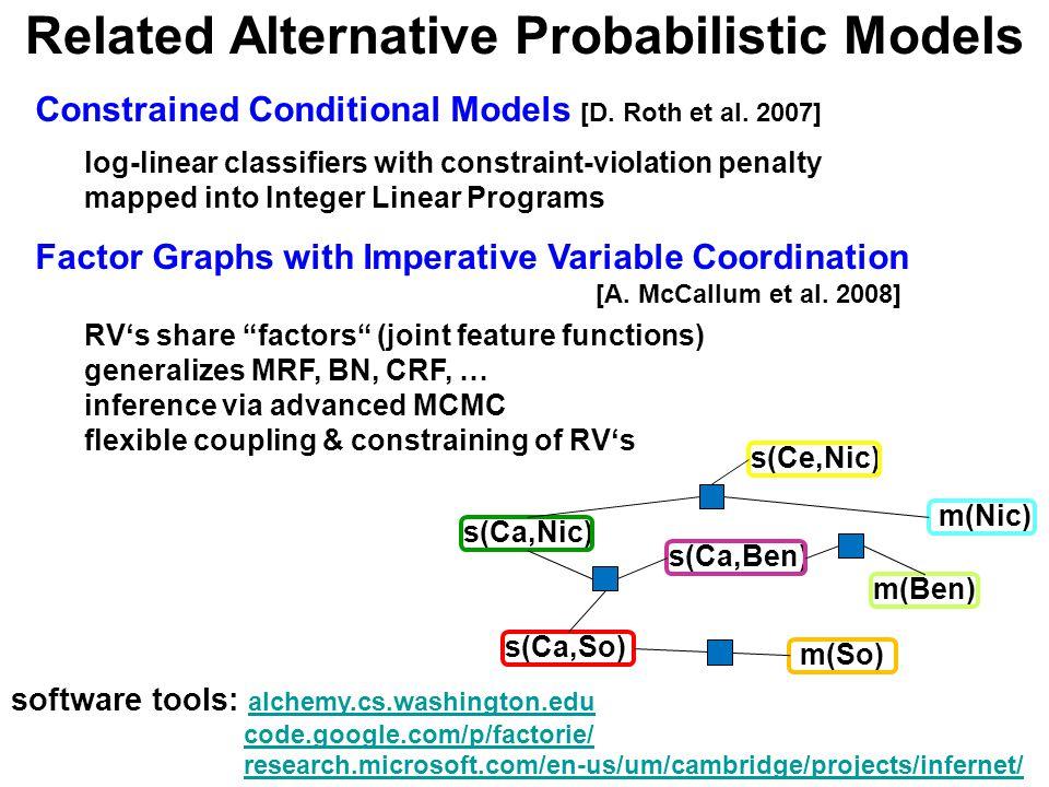 Related Alternative Probabilistic Models software tools: alchemy.cs.washington.edu alchemy.cs.washington.edu code.google.com/p/factorie/ research.microsoft.com/en-us/um/cambridge/projects/infernet/ Constrained Conditional Models [D.
