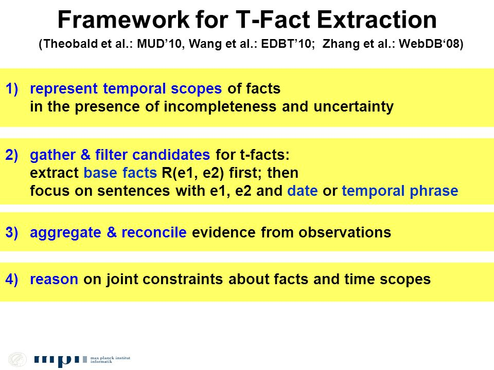 Framework for T-Fact Extraction (Theobald et al.: MUD10, Wang et al.: EDBT10; Zhang et al.: WebDB08) 1)represent temporal scopes of facts in the presence of incompleteness and uncertainty 2) gather & filter candidates for t-facts: extract base facts R(e1, e2) first; then focus on sentences with e1, e2 and date or temporal phrase 3)aggregate & reconcile evidence from observations 4) reason on joint constraints about facts and time scopes