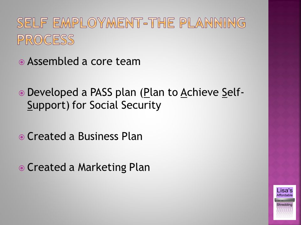 Assembled a core team Developed a PASS plan (Plan to Achieve Self- Support) for Social Security Created a Business Plan Created a Marketing Plan