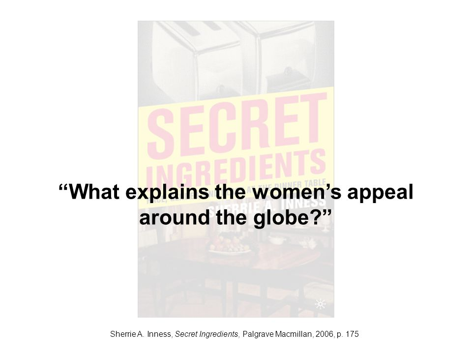 Sherrie A. Inness, Secret Ingredients, Palgrave Macmillan, 2006, p. 175 What explains the womens appeal around the globe?