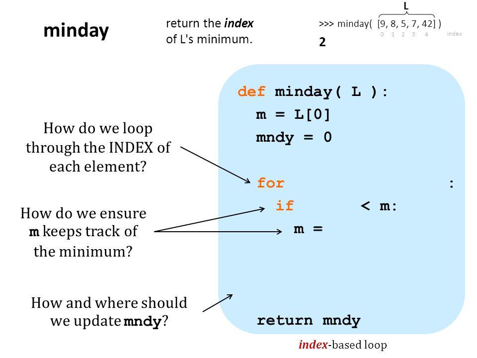 def minday( L ): m = L[0] mndy = 0 for : if < m: m = return mndy index-based loop minday return the index of L s minimum.
