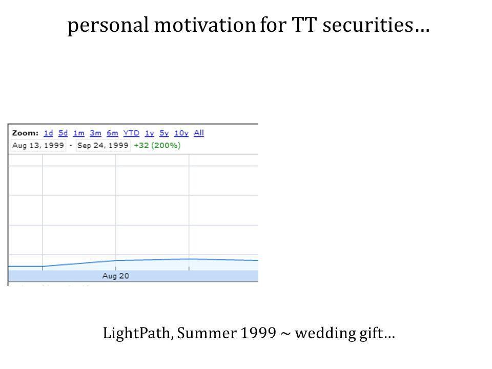 personal motivation for TT securities… LightPath, Summer 1999 ~ wedding gift…