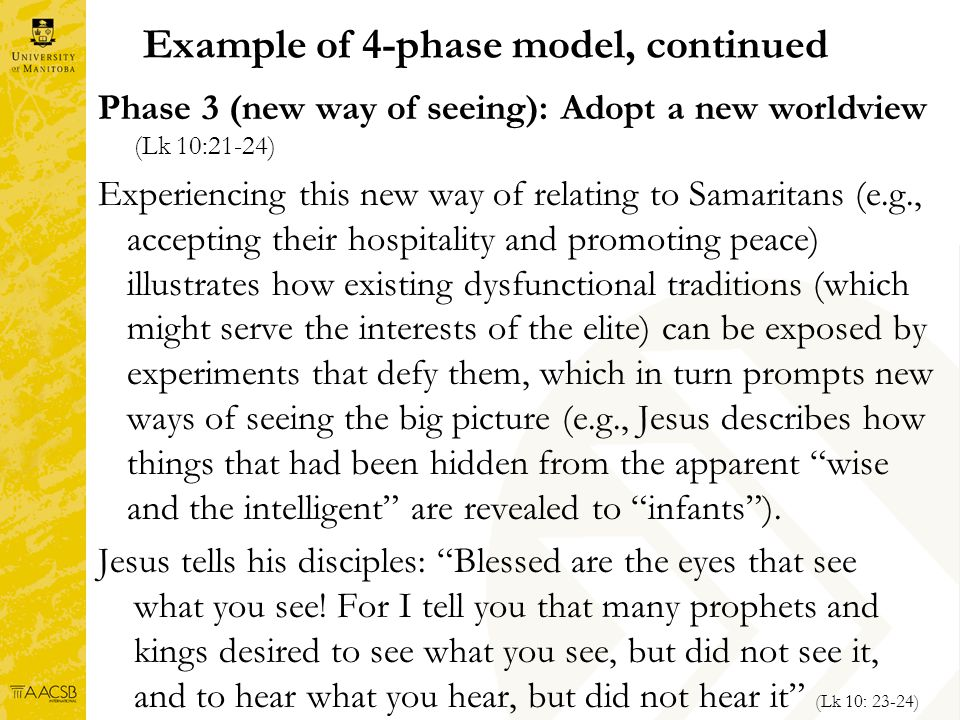 Example of 4-phase model, continued Phase 3 (new way of seeing): Adopt a new worldview (Lk 10:21-24) Experiencing this new way of relating to Samaritans (e.g., accepting their hospitality and promoting peace) illustrates how existing dysfunctional traditions (which might serve the interests of the elite) can be exposed by experiments that defy them, which in turn prompts new ways of seeing the big picture (e.g., Jesus describes how things that had been hidden from the apparent wise and the intelligent are revealed to infants).