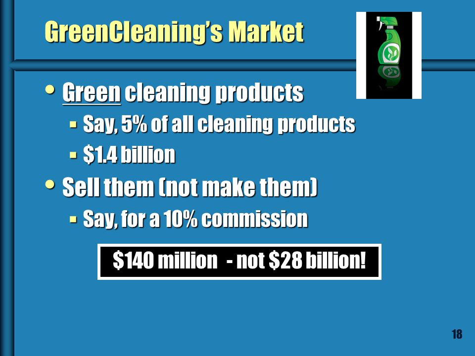 17 Caution: Look at the Right Market! GreenCleaning.com will sell all brands of environmentally friendly cleaning products – on one website. GreenClea
