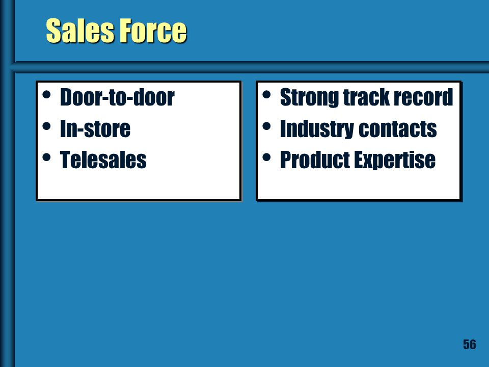55 Sales Force is Probably Necessary If the Sale: Involves education Involves education Requires a lot of customization Requires a lot of customizatio
