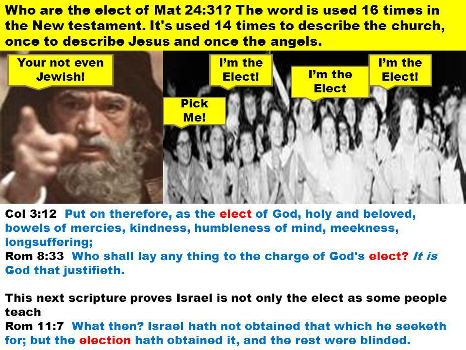 Who are the elect of Mat 24:31? The word is used 16 times in the New testament. It's used 14 times to describe the church, once to describe Jesus and