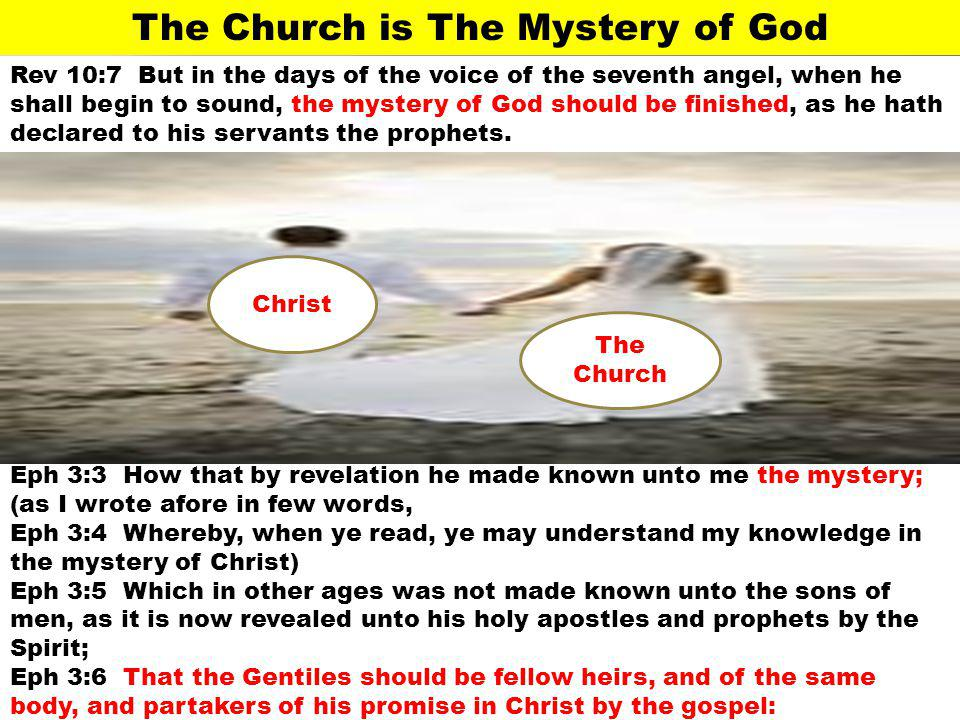 The Church is The Mystery of God Rev 10:7 But in the days of the voice of the seventh angel, when he shall begin to sound, the mystery of God should b