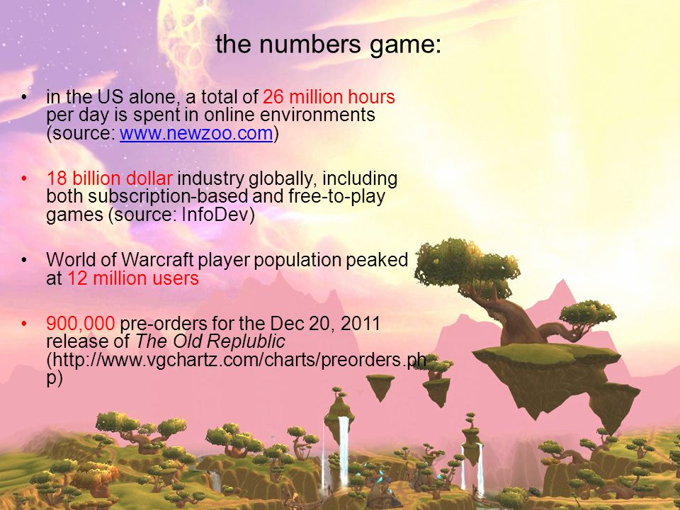 the numbers game: in the US alone, a total of 26 million hours per day is spent in online environments (source: www.newzoo.com)www.newzoo.com 18 billi
