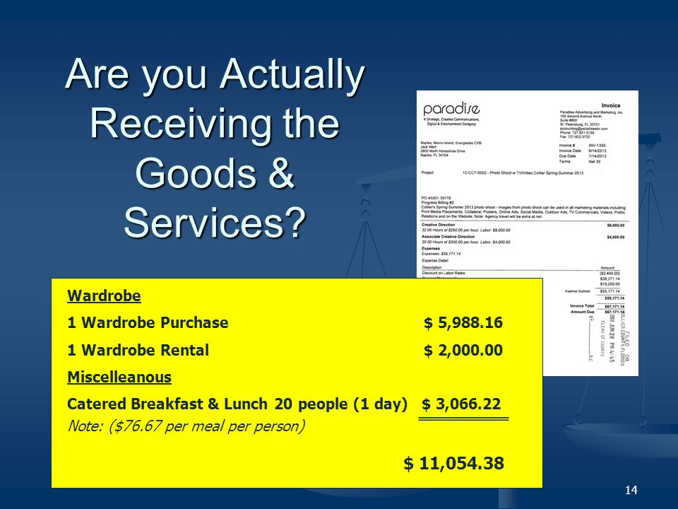 Are you Actually Receiving the Goods & Services.
