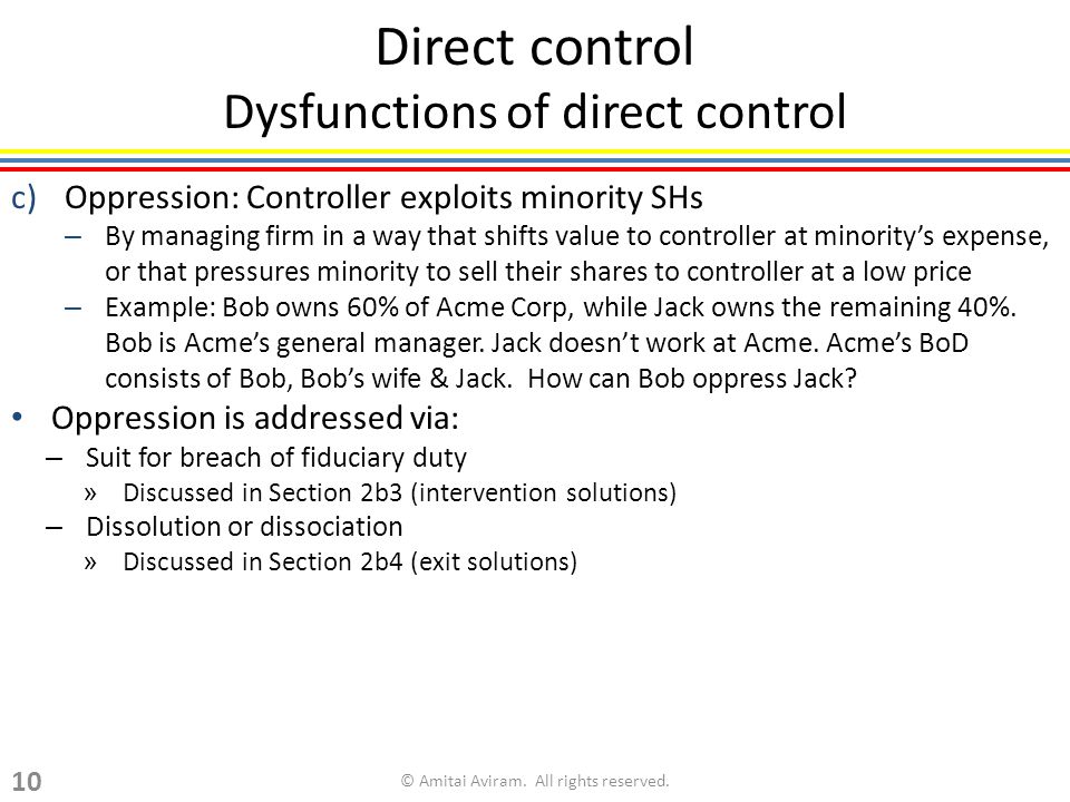 Direct control Dysfunctions of direct control c)Oppression: Controller exploits minority SHs – By managing firm in a way that shifts value to controller at minoritys expense, or that pressures minority to sell their shares to controller at a low price – Example: Bob owns 60% of Acme Corp, while Jack owns the remaining 40%.
