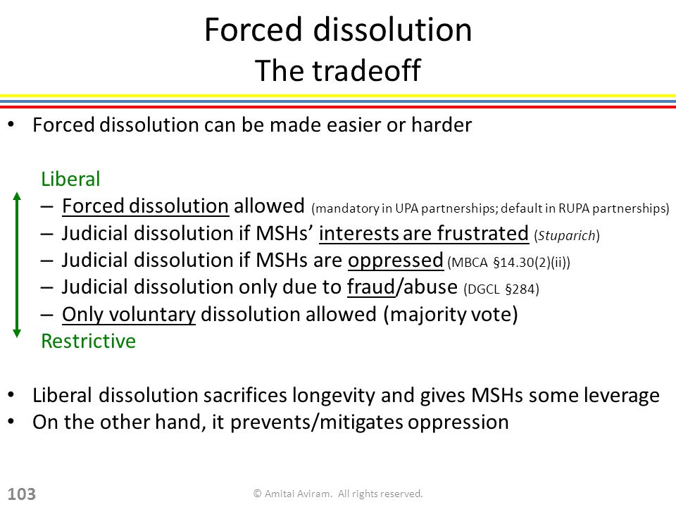 Forced dissolution The tradeoff Forced dissolution can be made easier or harder Liberal – Forced dissolution allowed (mandatory in UPA partnerships; default in RUPA partnerships) – Judicial dissolution if MSHs interests are frustrated (Stuparich) – Judicial dissolution if MSHs are oppressed (MBCA §14.30(2)(ii)) – Judicial dissolution only due to fraud/abuse (DGCL §284) – Only voluntary dissolution allowed (majority vote) Restrictive Liberal dissolution sacrifices longevity and gives MSHs some leverage On the other hand, it prevents/mitigates oppression © Amitai Aviram.