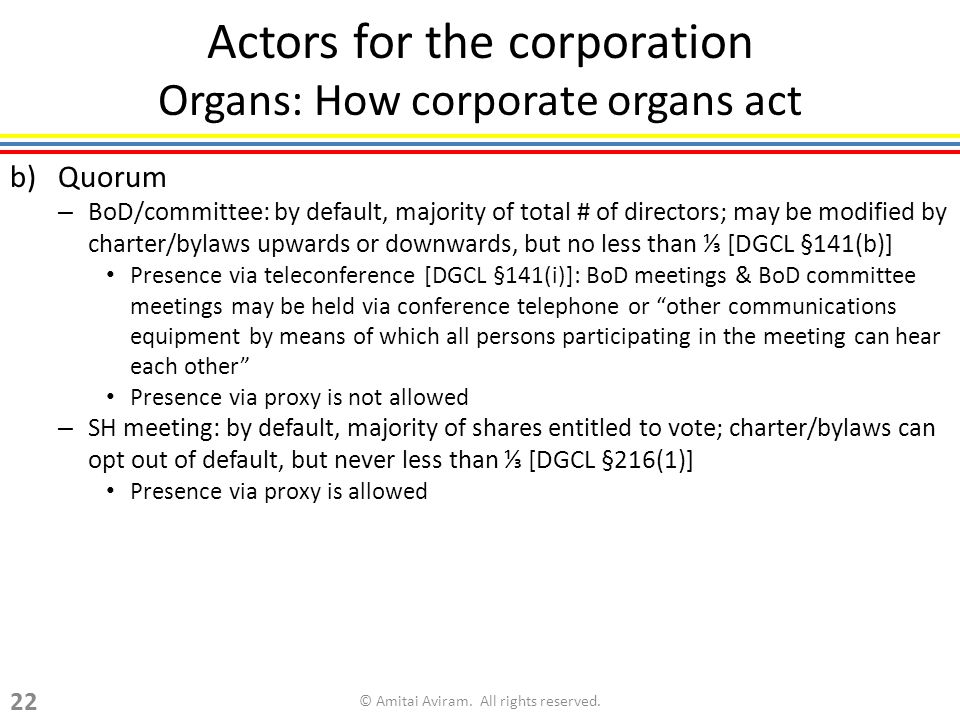 Actors for the corporation Organs: How corporate organs act b)Quorum – BoD/committee: by default, majority of total # of directors; may be modified by charter/bylaws upwards or downwards, but no less than [DGCL §141(b)] Presence via teleconference [DGCL §141(i)]: BoD meetings & BoD committee meetings may be held via conference telephone or other communications equipment by means of which all persons participating in the meeting can hear each other Presence via proxy is not allowed – SH meeting: by default, majority of shares entitled to vote; charter/bylaws can opt out of default, but never less than [DGCL §216(1)] Presence via proxy is allowed © Amitai Aviram.