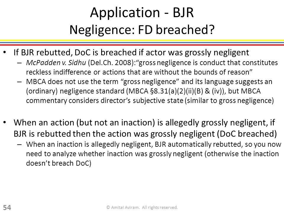 Application - BJR Negligence: FD breached.