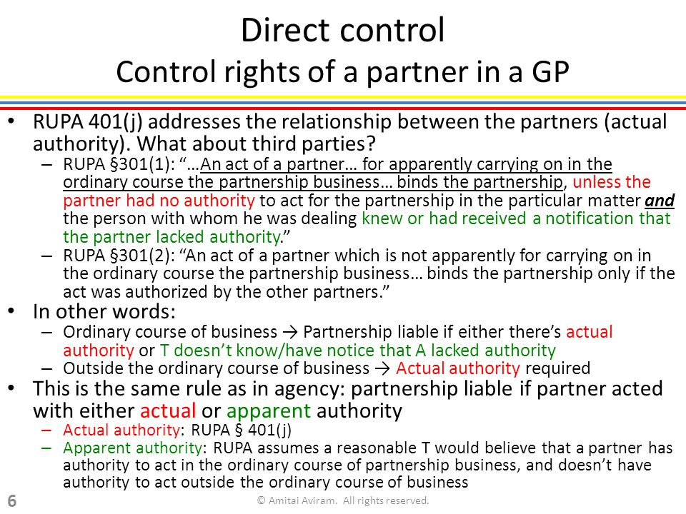 Direct control Control rights of a partner in a GP RUPA 401(j) addresses the relationship between the partners (actual authority).