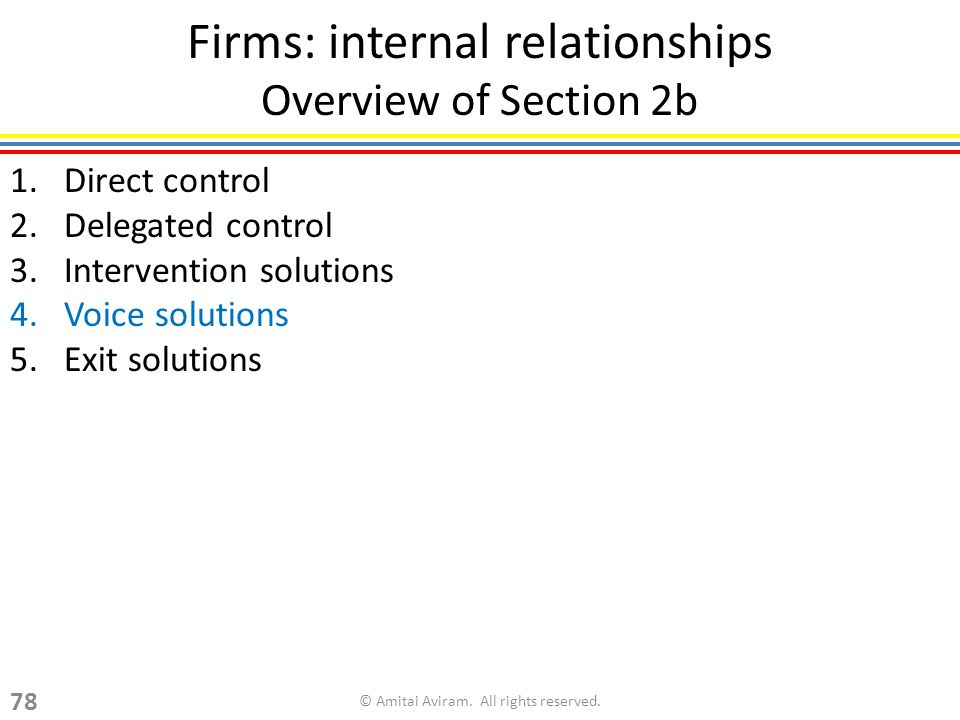 Firms: internal relationships Overview of Section 2b 1.Direct control 2.Delegated control 3.Intervention solutions 4.Voice solutions 5.Exit solutions © Amitai Aviram.