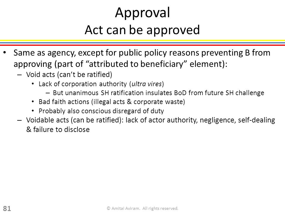 Approval Act can be approved Same as agency, except for public policy reasons preventing B from approving (part of attributed to beneficiary element): – Void acts (cant be ratified) Lack of corporation authority (ultra vires) – But unanimous SH ratification insulates BoD from future SH challenge Bad faith actions (illegal acts & corporate waste) Probably also conscious disregard of duty – Voidable acts (can be ratified): lack of actor authority, negligence, self-dealing & failure to disclose © Amitai Aviram.