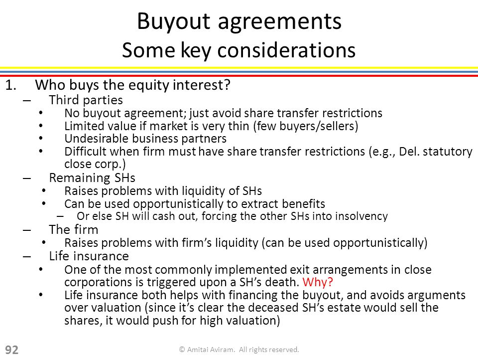 Buyout agreements Some key considerations 1.Who buys the equity interest.