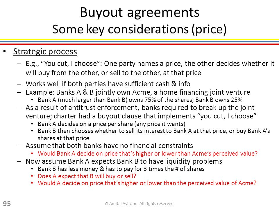 Buyout agreements Some key considerations (price) Strategic process – E.g., You cut, I choose: One party names a price, the other decides whether it will buy from the other, or sell to the other, at that price – Works well if both parties have sufficient cash & info – Example: Banks A & B jointly own Acme, a home financing joint venture Bank A (much larger than Bank B) owns 75% of the shares; Bank B owns 25% – As a result of antitrust enforcement, banks required to break up the joint venture; charter had a buyout clause that implements you cut, I choose Bank A decides on a price per share (any price it wants) Bank B then chooses whether to sell its interest to Bank A at that price, or buy Bank As shares at that price – Assume that both banks have no financial constraints Would Bank A decide on price thats higher or lower than Acmes perceived value.