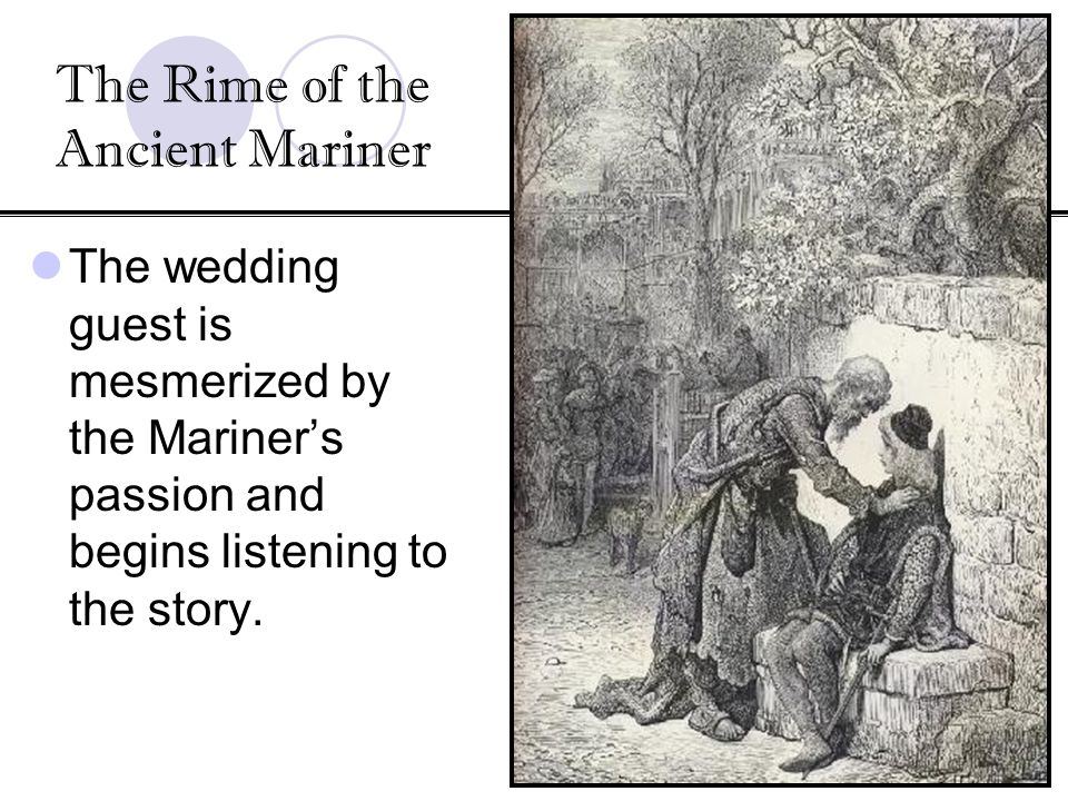 Geschke/British Literature Coleridge s The Rime of the Ancient Mariner Ancient Mariner long gray beard and glittering eye It is the eye that holds the attention of the Wedding Guest Suggests the supernatural