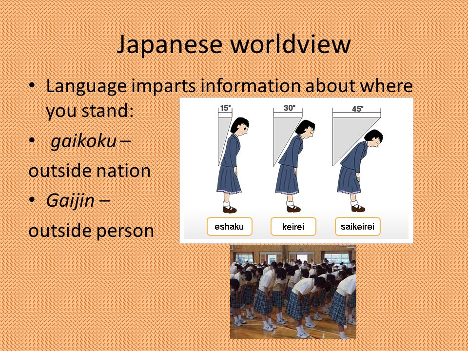Japanese worldview Language imparts information about where you stand: gaikoku – outside nation Gaijin – outside person