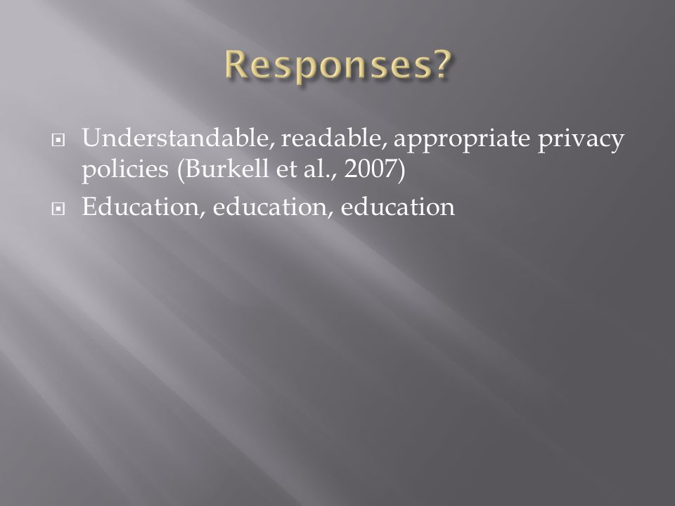 Understandable, readable, appropriate privacy policies (Burkell et al., 2007) Education, education, education