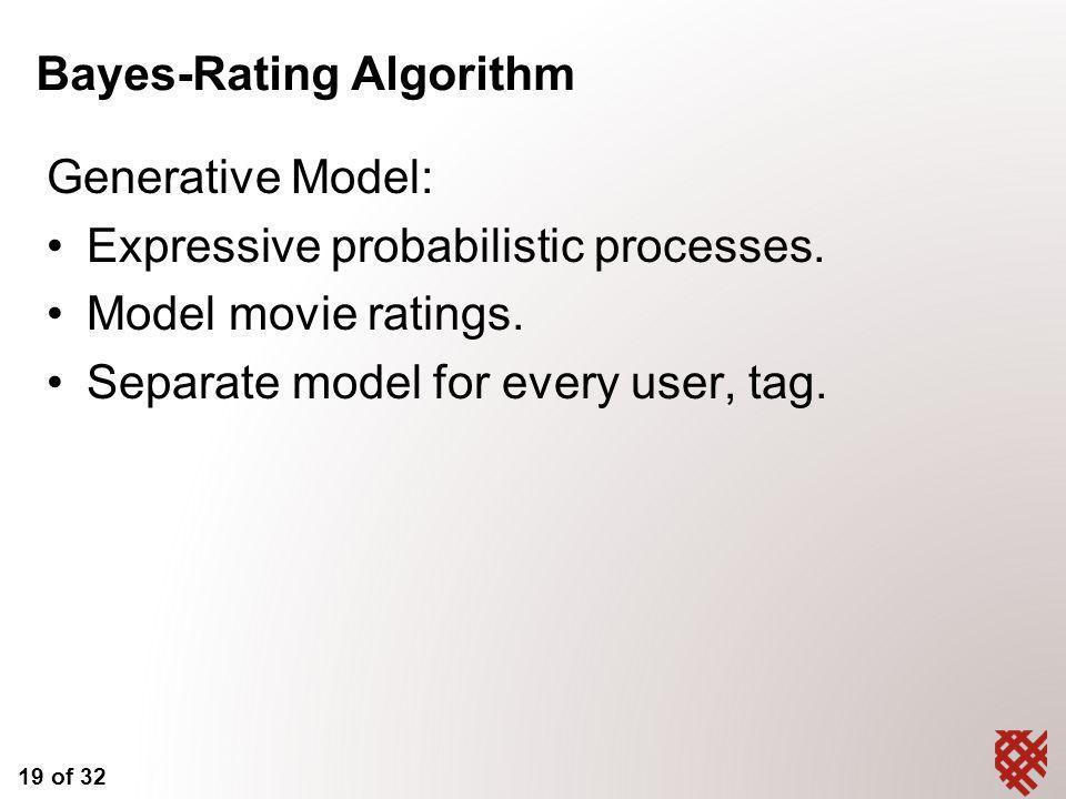 19 of 32 Bayes-Rating Algorithm Generative Model: Expressive probabilistic processes.