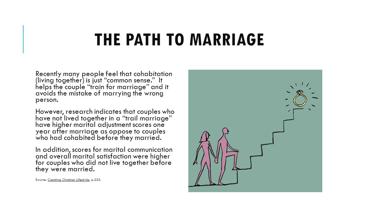 THE PATH TO MARRIAGE Recently many people feel that cohabitation (living together) is just common sense.
