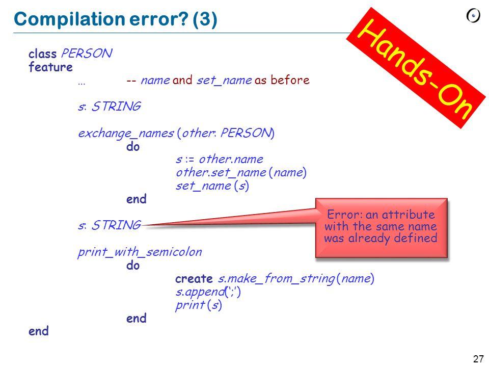 27 Compilation error.