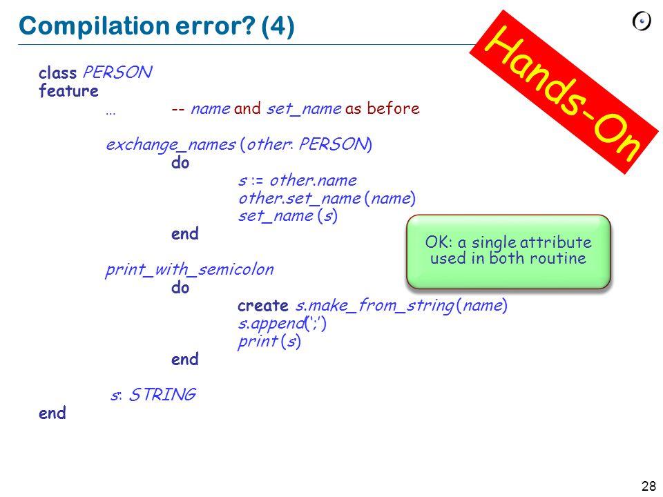 28 Compilation error.